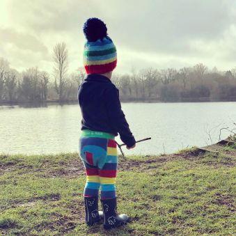 Little boy wearing elephant leggings - Cotswold baby co