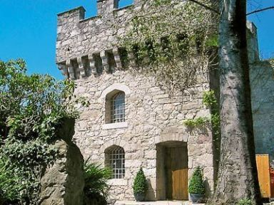 Hen Wrych Hall Tower, Abergele, Conwy. Ref. OPW. The romantic retreat of Hen Wrych Tower features a heavily carved king-size four-poster bed, Victorian-style bathroom and an open working fireplace. http://bit.ly/1aFypNt.