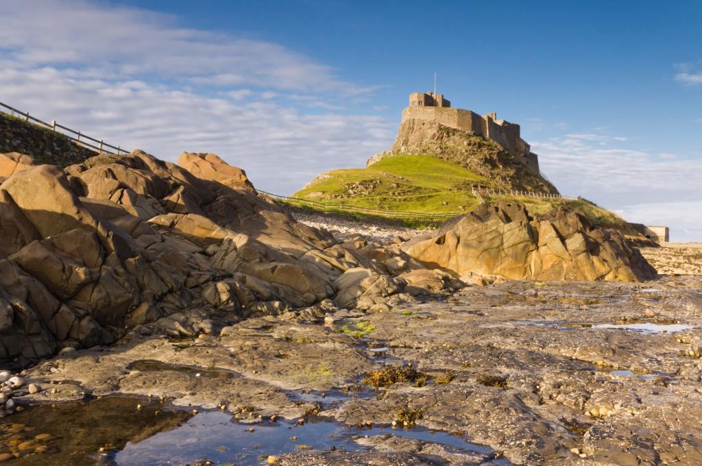 Lindisfarne island in sunshine