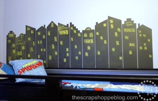 Chalkboard Superhero Skyline