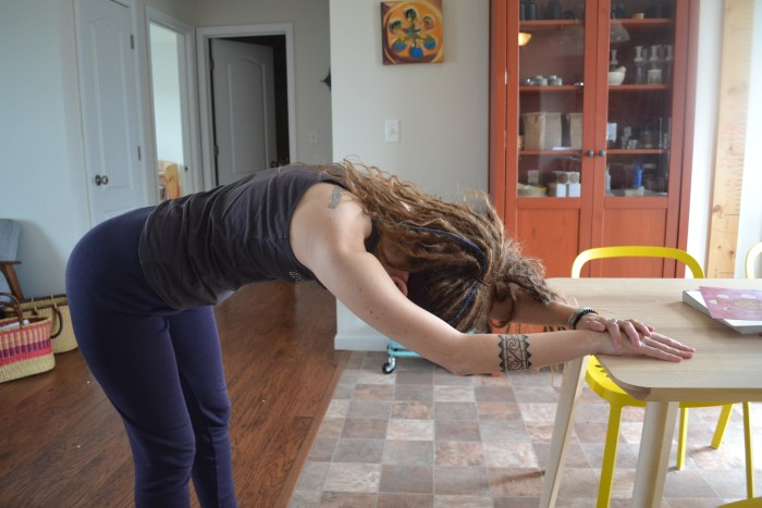 A variation on the stretch to work additional sets of muscles.