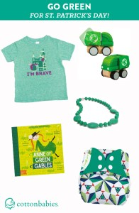Ready to go GREEN for St. Patrick's Day? Find our favorite green clothing, diapers, accessories, toys and more!