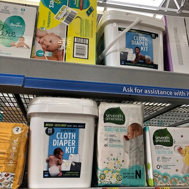 Elemental Joy IN the cloth diaper aisle in Walmart.