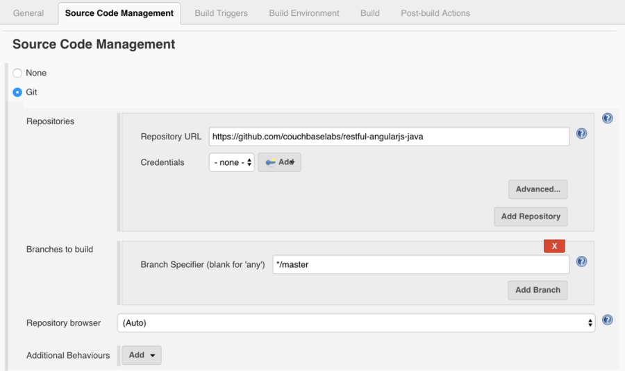 Jenkins Java Project Source Control