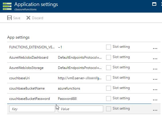 Azure Functions App settings