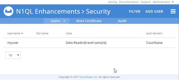 Create a user with N1QL enhancements