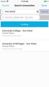 iOS app search bar
