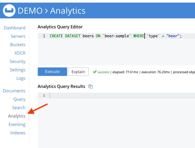 Create Dataset in Couchbase Analytics
