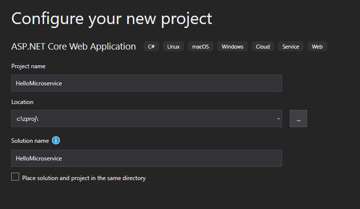 New project in Visual Studio