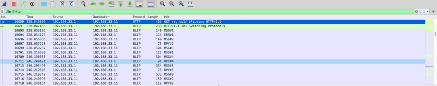 A wireshark trace filtered to BLIP and HTTP