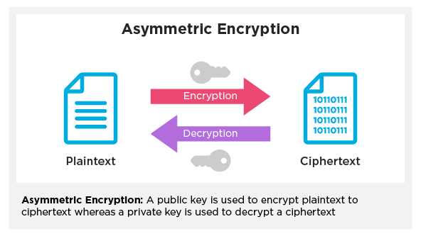 Two arrows pointing different directions and a key above each one, representing how asymmetric data encryption works