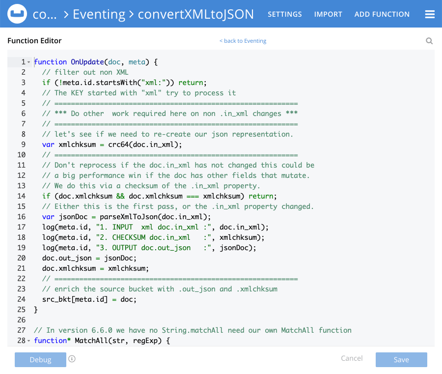 The function editor in Couchbase Eventing