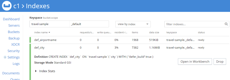 Couchbase web console showing query index being created