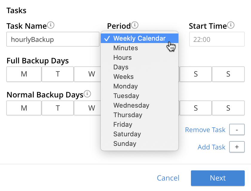 The tasks view in the Couchbase Backup Wizard