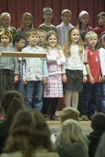 The entire German school put on a welcoming ceremony for the First Graders.