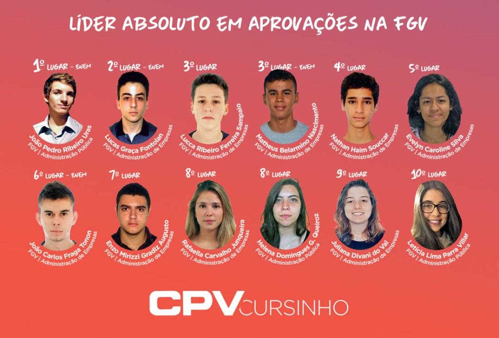 CPV tem 126 aprovações na 1ª lista do Vestibular de Inverno da FGV