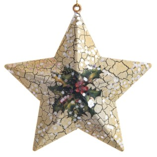 Holly Print Star Ornament