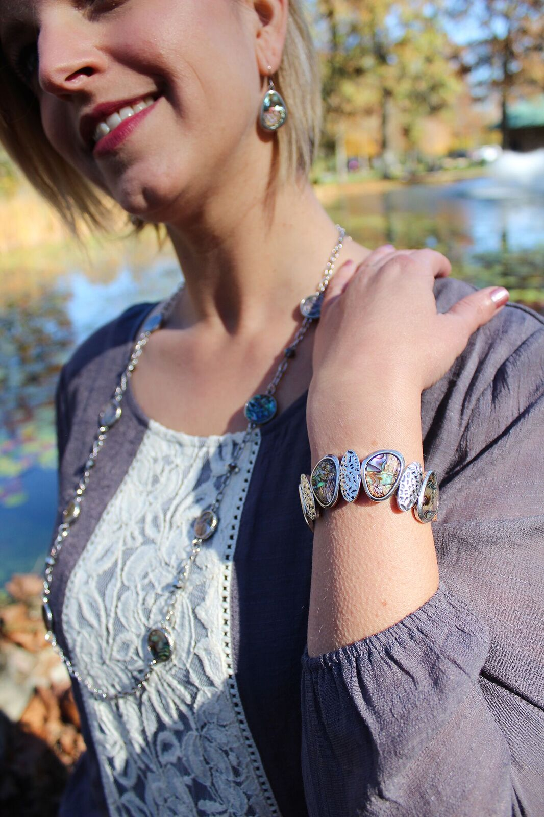 Abalone Bracelet 599021 and Earrings 599020 and Necklace 599022