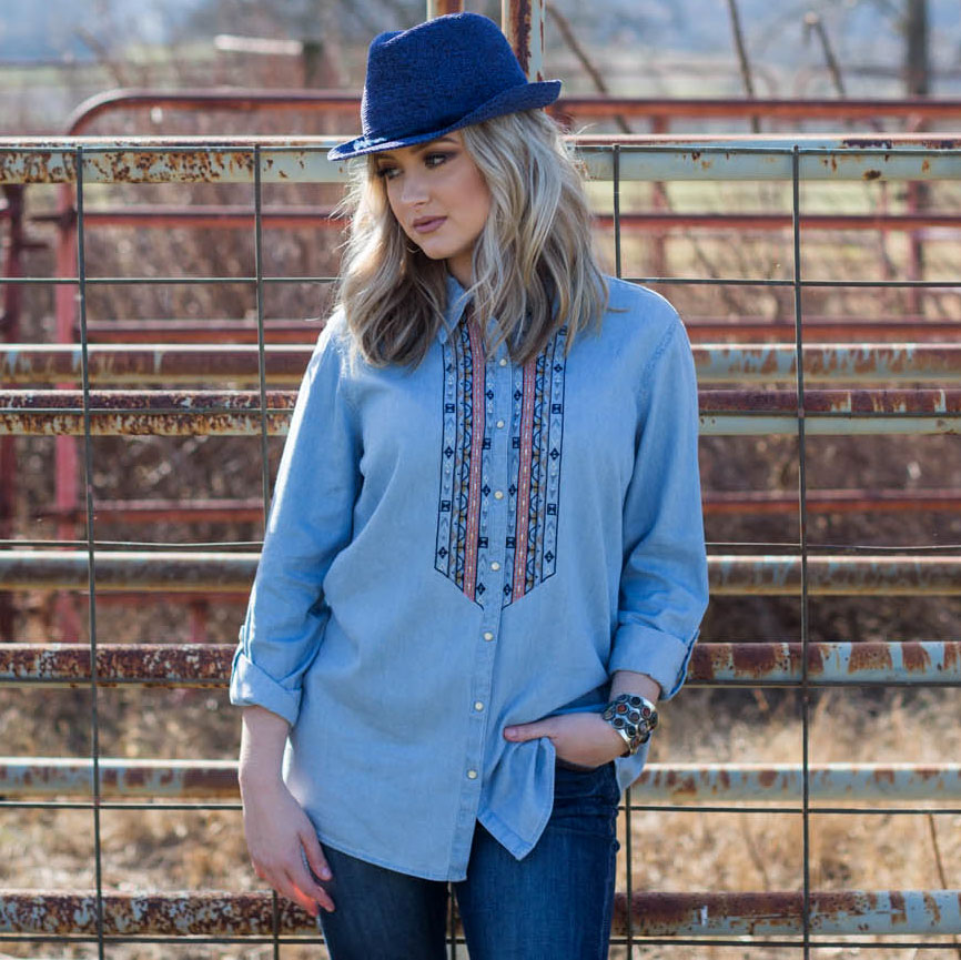Embroidered Denim Woven Top