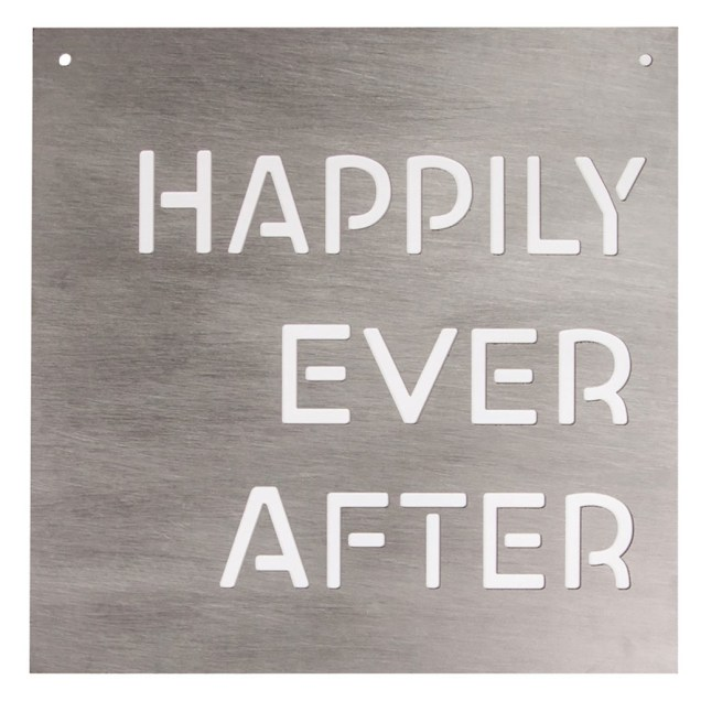 """Happily Ever After"" Silhouette Wall Sign"