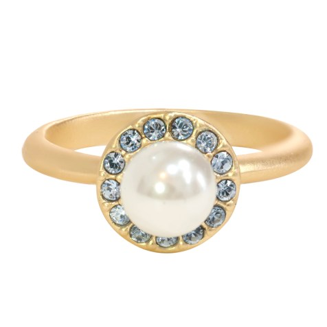 Swarovski Crystal Pearl Halo Ring - 14K Gold