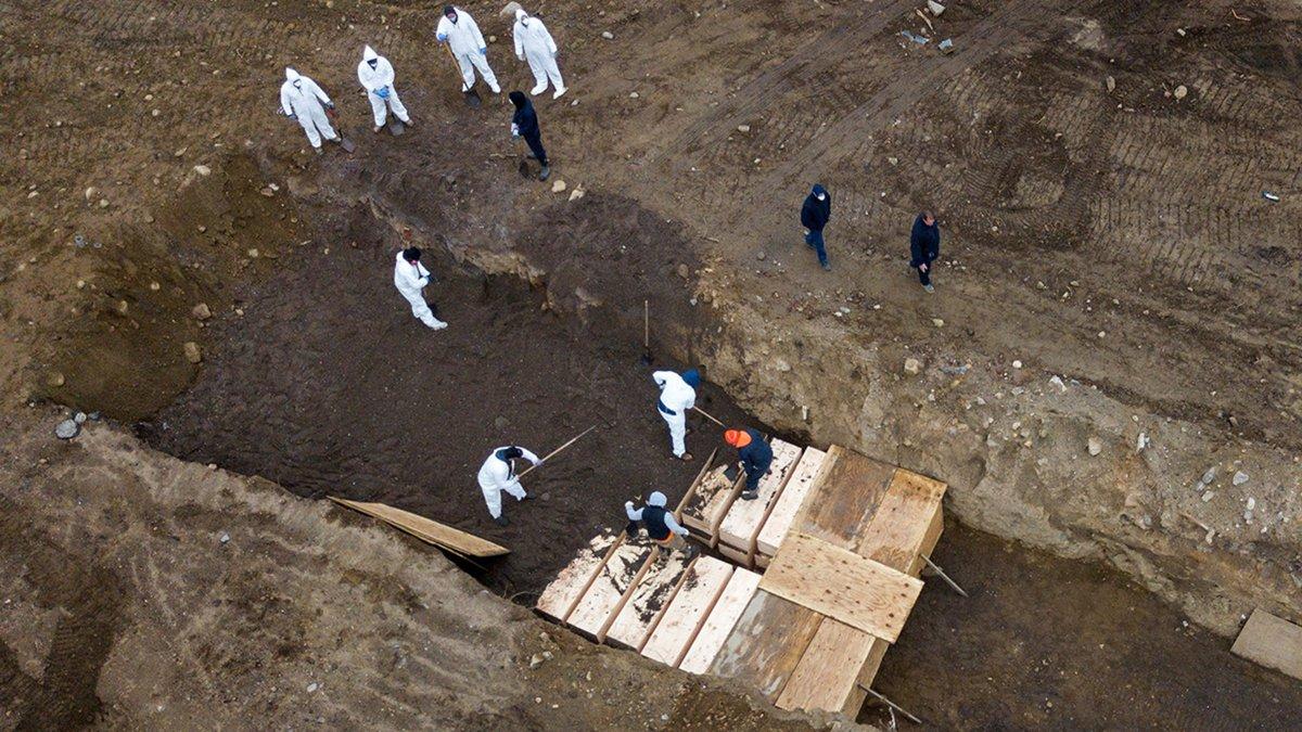 Burying bodies three-deep on Potter's Field, Hart Island NY