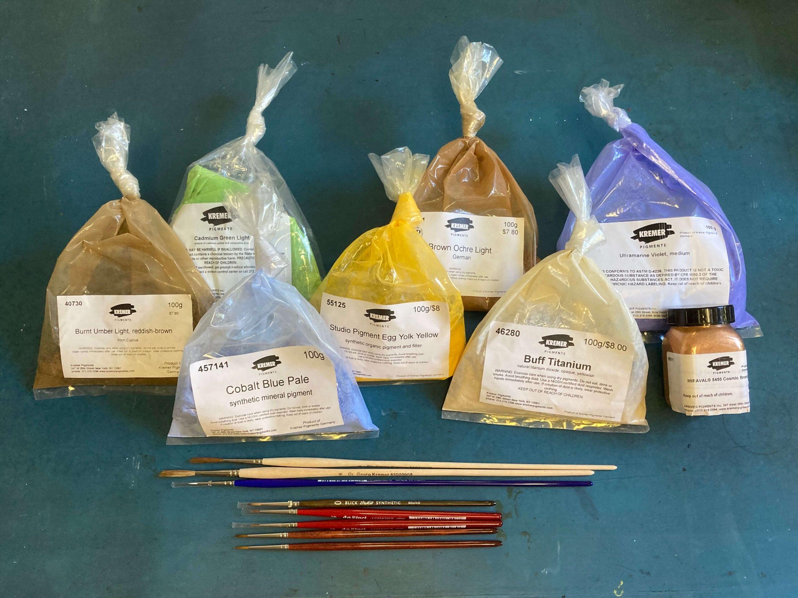 Cadmium, Cobalt and earth pigments, more brushes