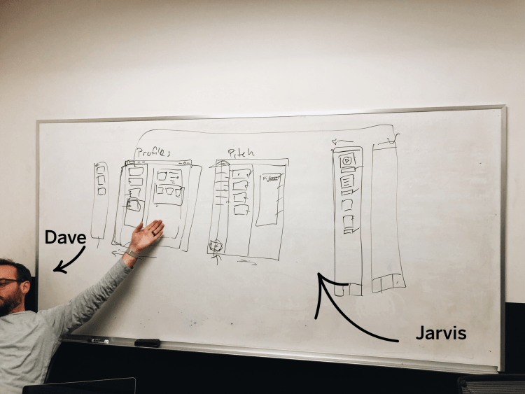 Dave (on the Crash team) and a whiteboard drawing of our platform.