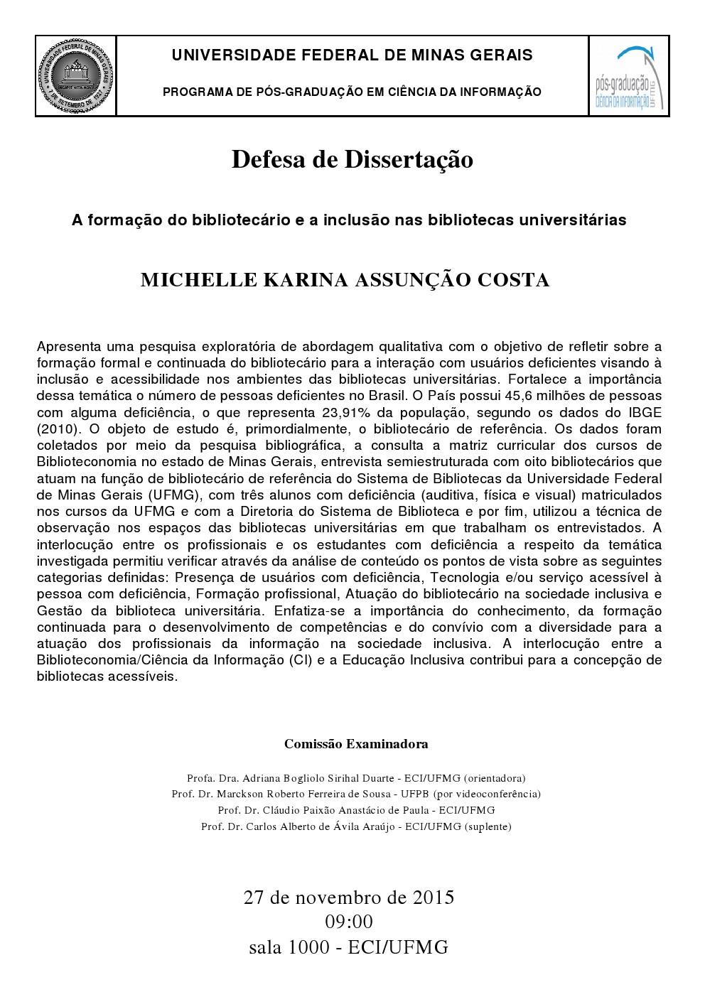 Defesa Michelle Karina Assunção Costa