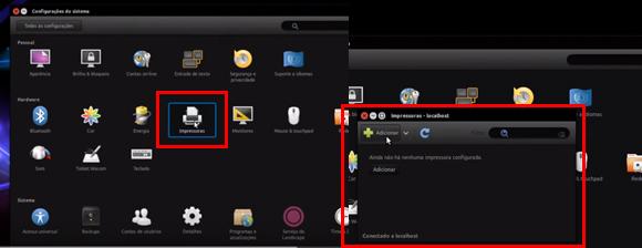 Como instalar impressora no ubunto: Impressoras > Adicionar