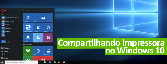 Compartilhando Impressora no Windows 10