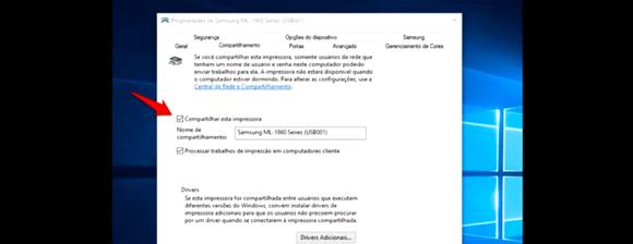 Compartilhar impressora na rede com Windows 10 - Compartilhar esta Impressora