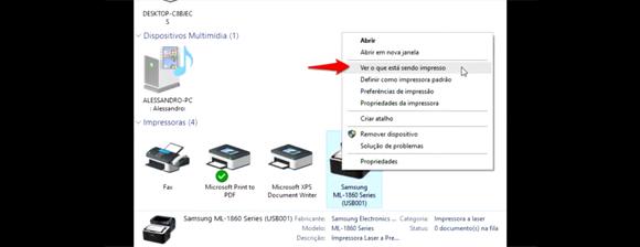 Compartilhar impressora na rede com Windows 10 - Ver o que está sendo impresso
