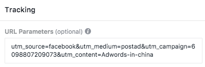 Creativeworks Facebook Ad utm parameters