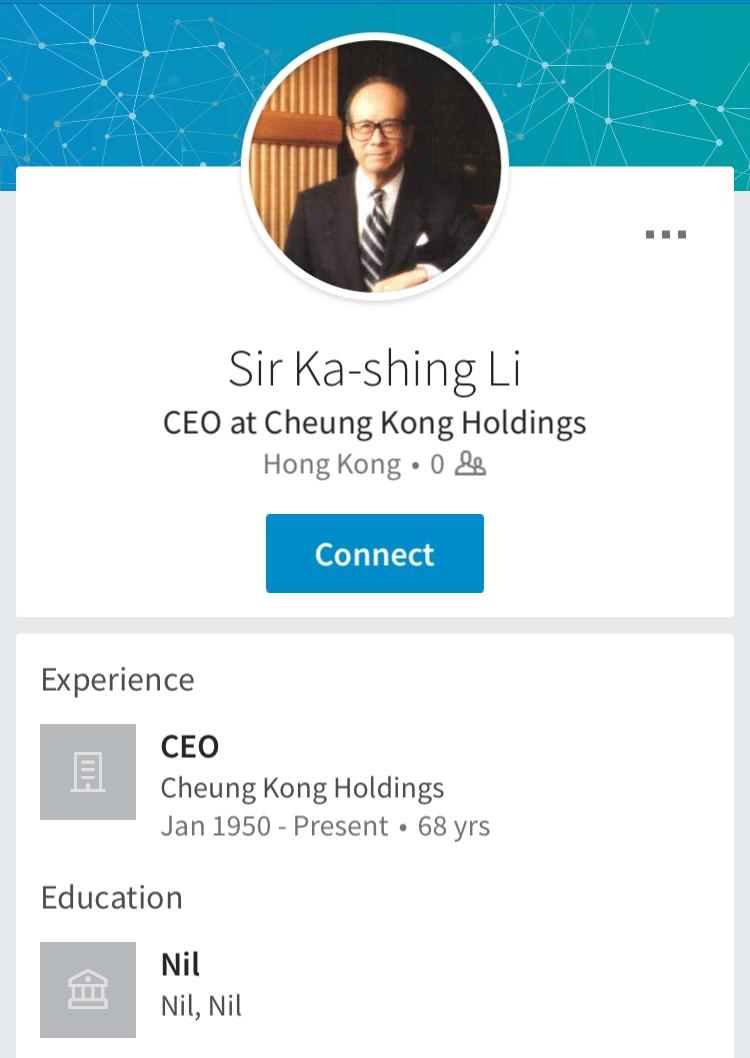 LinkedIn of Li Ka-Shing