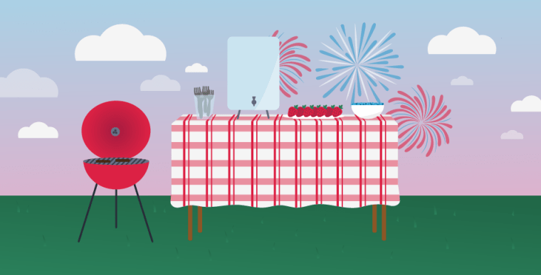 Illustration of a picnic table with a grill on the left and fireworks in the background