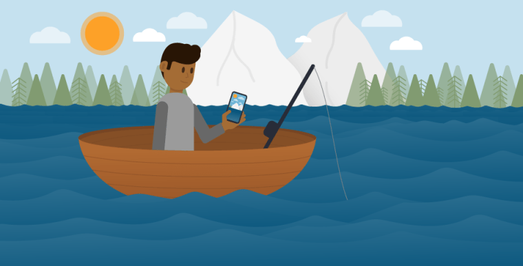 Illustration of a man in a fishing boat with his cell phone in his hand.