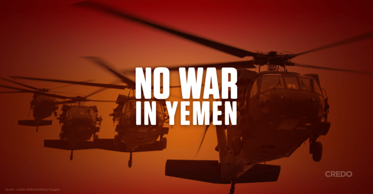 No War in Yemen written over helicopters
