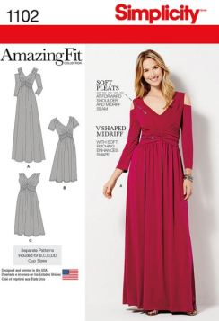 Party Dress Sewing Pattern - Simplicity 1102 Plus Size Sewing Pattern