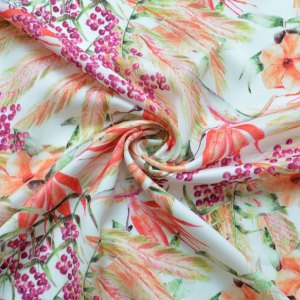 Silky Satin - Floral Polyester Dress Fabric With a Silk Like Feel. 142cm wide