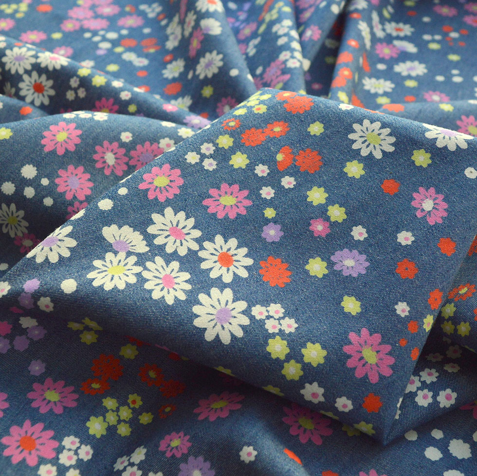 Heavenly - Daisy - Mid Blue Multicoloured Floral