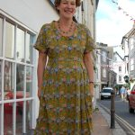 stone fabrics - Retro Print Viscose Green Dress