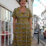 stone fabrics - Retro Print Viscose Green Dress