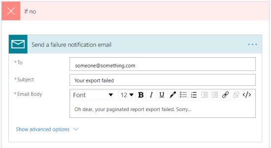 Failure email