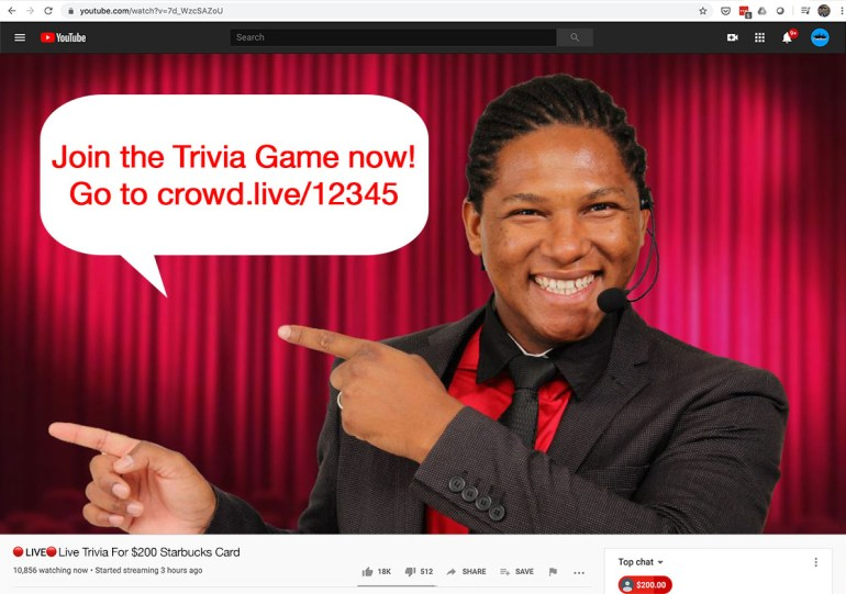 A live-streaming host announces the trivia game's URL for participants to join.