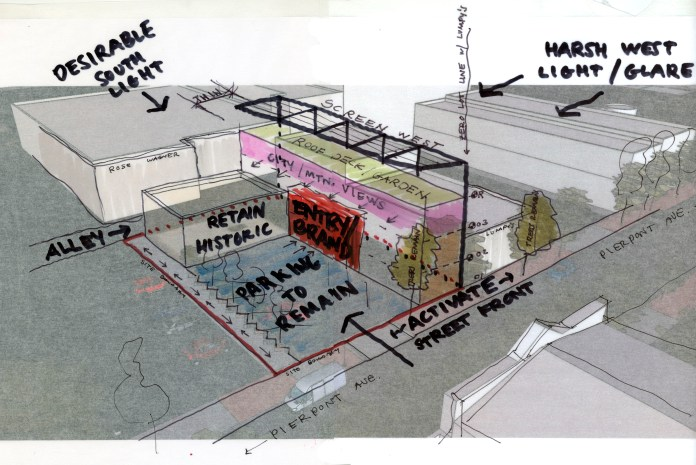Project Manager Ryan Wallace created this quick sketch of a proposed addition Downtown to help describe a number of factors working together at once.