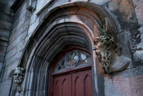 Carved head of saints on Chapel Royal Dublin Castle Ireland