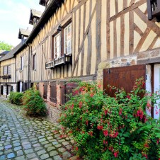 Timbered Buildings In Normandy Town, Honfleur,