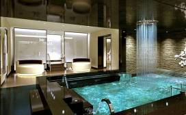 Hydrotherapy pool with rain shower