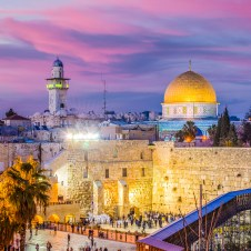 Jerusalem skyline at sunset in the Old City at the Western Wall and Temple Mount